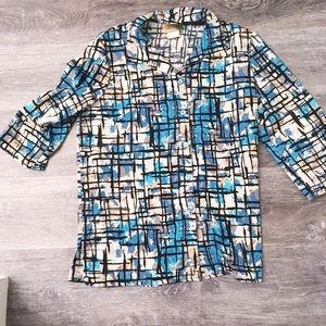 24k abstract button up blouse medium